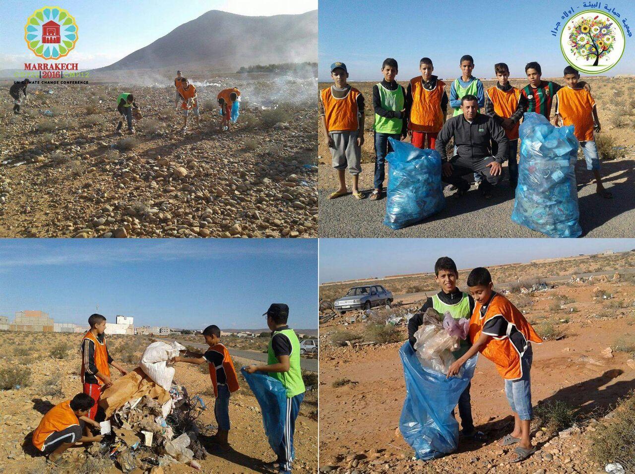 جمعية حماية البئية – أولاد جرار تنظم حملة لجمع وإتلاف الأكياس البلاستيكية تجاوبا مع كوب 22