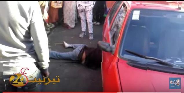"""حادث غريب بشارع سيدي عبد الرحمان """" اكي واسيف """" بتيزنيت"""