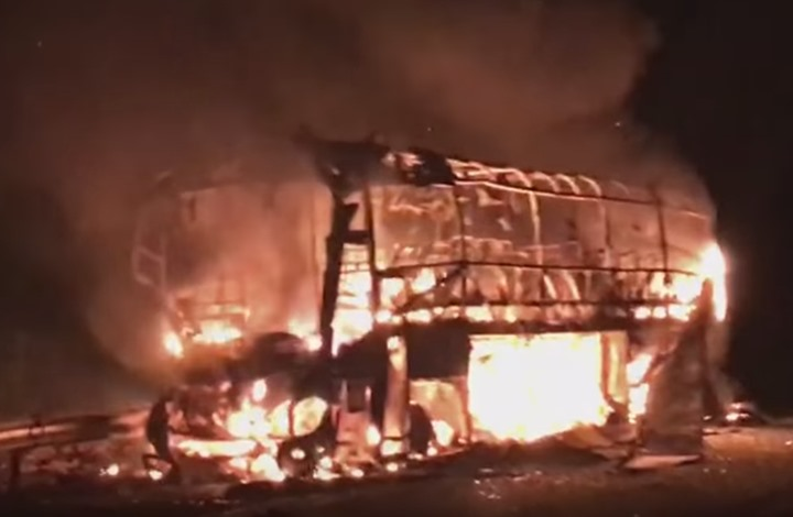 نجاة مستشارة جماعية بجماعة تافراوت  في حادث احتراق حافلة امسكروض + صور الحادث