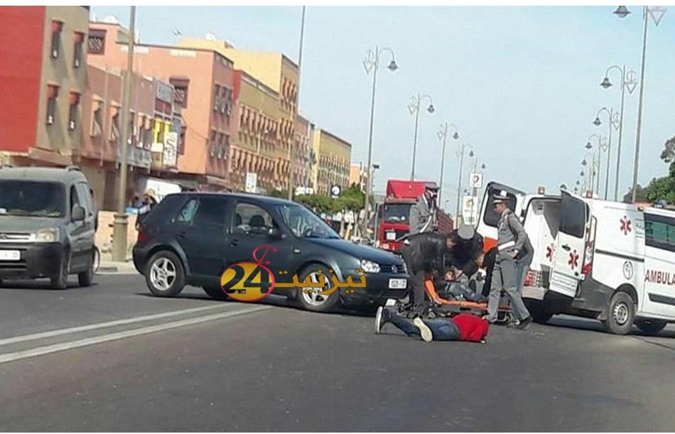 حادثة سير تخلف جريحين في الطريق الرابطة بين تيزنيت و اكادير + صور