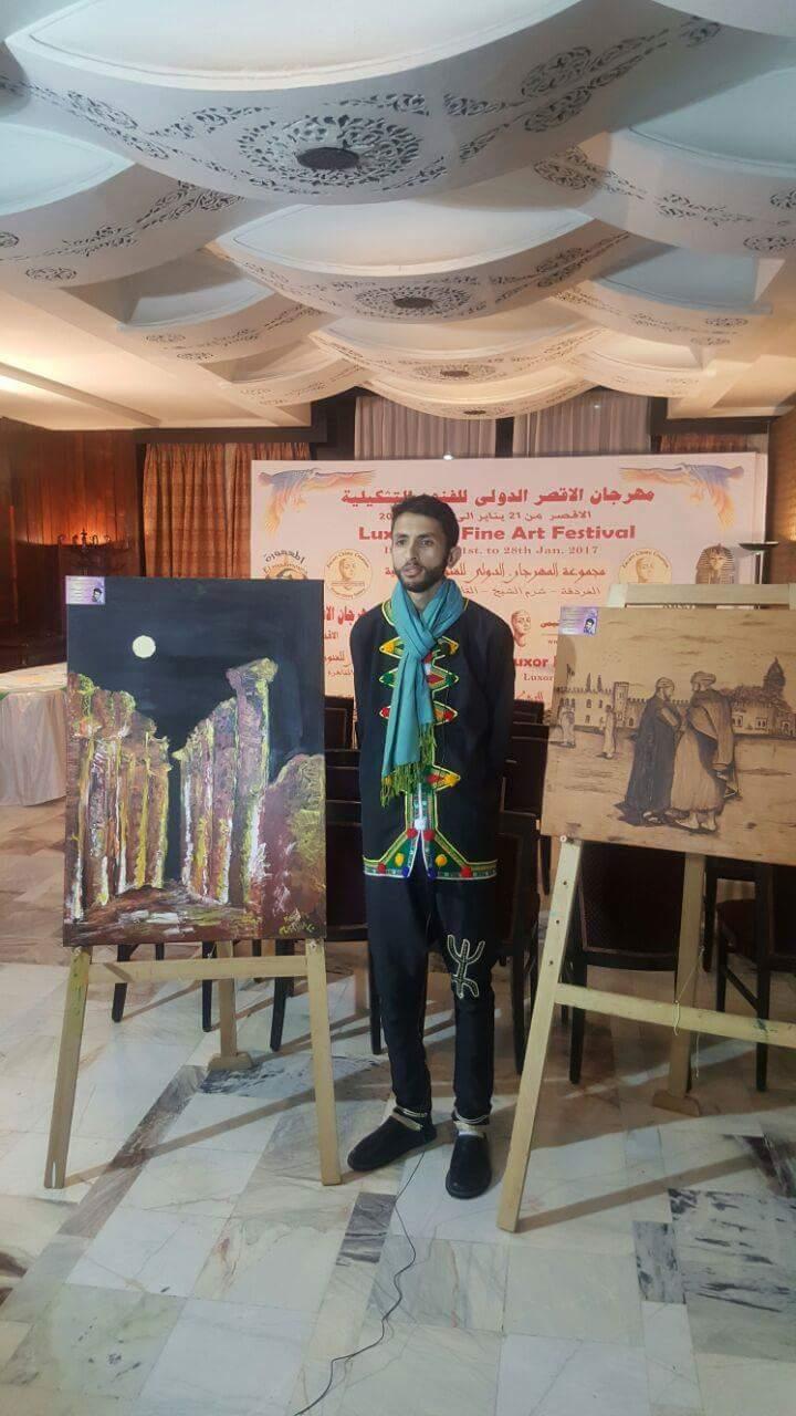 الفنان كريم الكاهية يبهر الفراعنة في مهرجان الاقصر الدولي للفنون التشكيلية