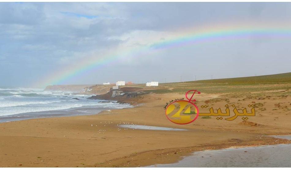 صور لقوس قزح بشاطئ اكلو مساء اليوم الاحد