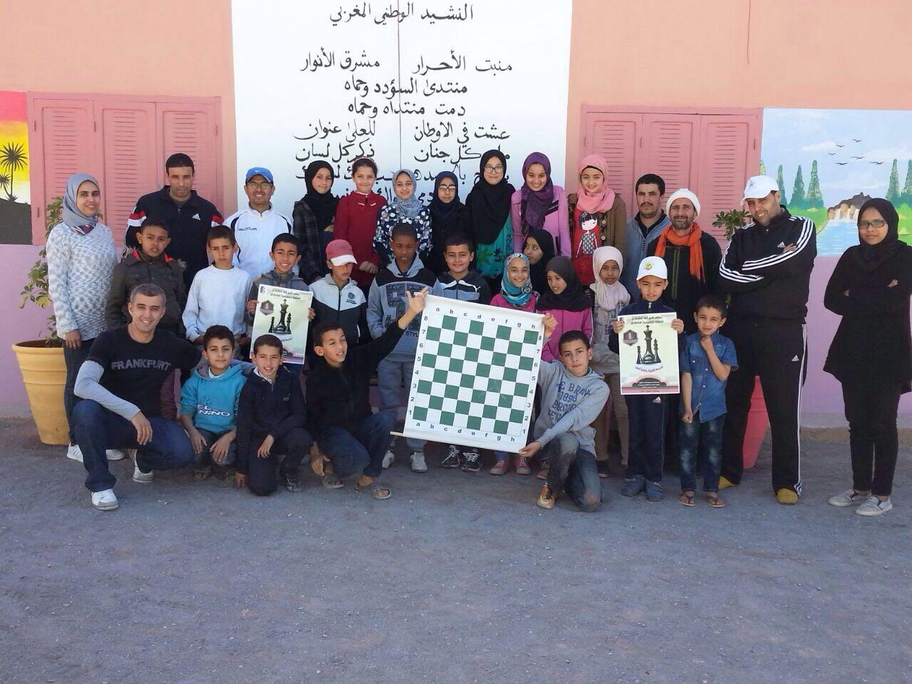 قافلة أمل تيزنيت للشطرنج تحط الرحال بمجموعة مدارس سوس العالمة دوار الزاوية بجماعة أكلو