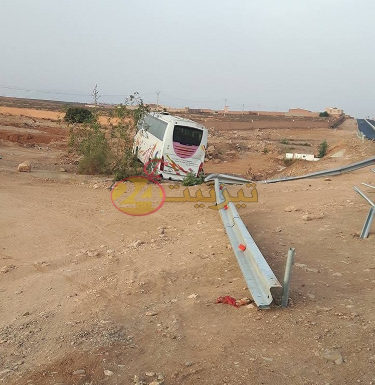 سقوط حافلة لنقل الركاب في حافة واد اصوح بطريق اكادير