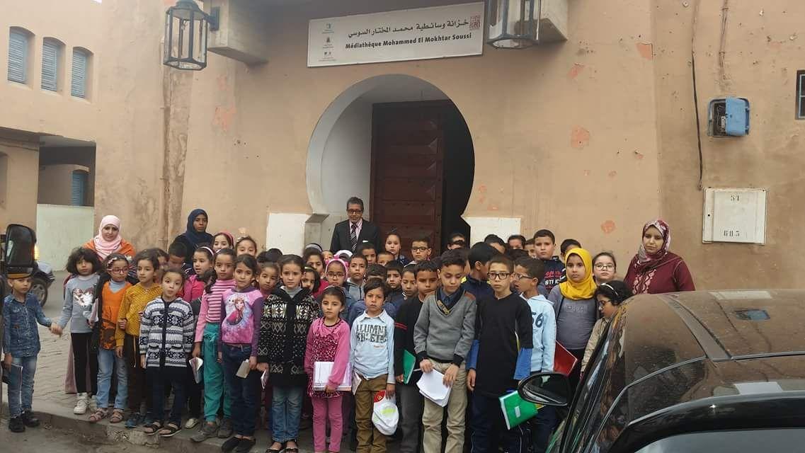 بالصور : زيارة تلاميذ نور الفرقان لخزانة محمد المختار السوسي